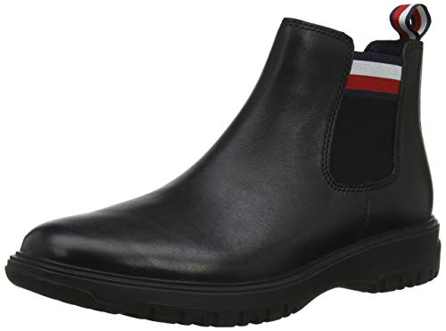 Tommy Hilfiger Herren Cleated Outsole Chelsea Boot Klassische Stiefel, Schwarz (Black 990), 43 EU
