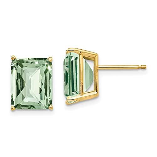 Pendientes de poste pulido de 14 quilates, 10 x 8, verde esmeralda, amatista, joyería regalos para mujeres
