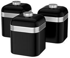 Swan Retro Kitchen Storage Canisters, Iron, Black, Set of 3