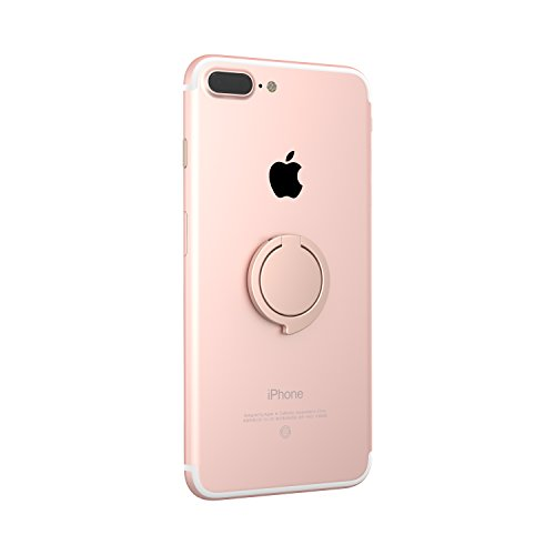 Kronya® | Portaobjetos giratorio 360 ° para smartphone | Sostenedor aptitud dedo coche celular anillo soporte teléfono móvil Apple iPhone iPad 7 8 10 X Samsung Galaxy S8 3 (Oro rosa)