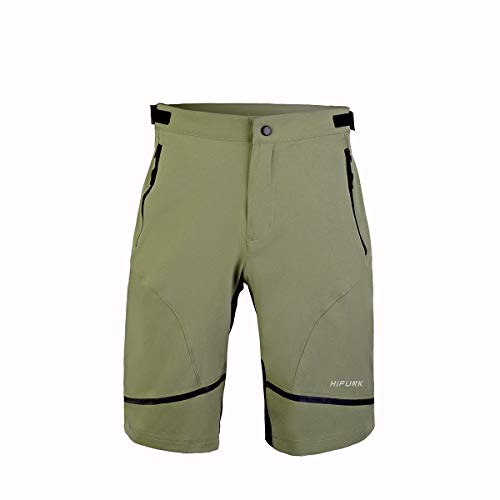 Hifunk Men's MTB Mountain Bike Cycling Shorts Loose-Fit Quick Dry Lightweight Baggy Bicycle Short Water-Resistant UPF 50+(Army Green,S)