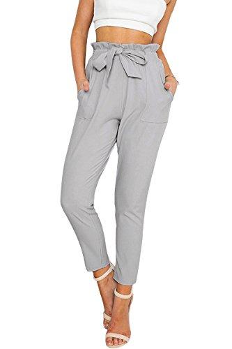 Simplee Apparel Simplee Apparel Damen Hosen Elegant High Waist Stretch Chiffon Skinny Hosen Pants Casual Streetwear Hosen mit Tunnelzug- Gr. 34 / S, Grau