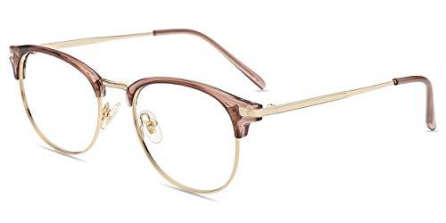 Firmoo Gafas para Ordenador Anti luz Azul,Evita la Fatiga Ojos, Gafas PC UV Luz Filtro Protección Azul Mujer Hombre para Antifatiga, S3555 Oro Púrpura