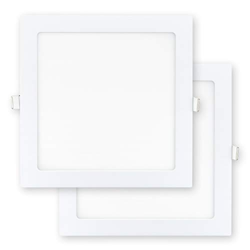 POPP®- Pack x2 Downlight LED Extraplano Cuadrado Blanco,chip OSRAM Iluminacion LED Plafón de Techo (6000K, 18W)