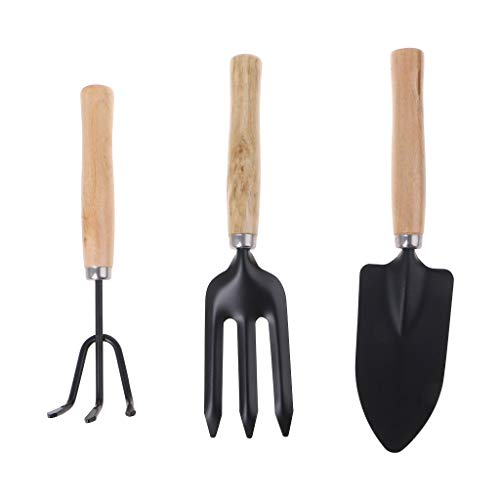 3Pcs Spade Fork Shovel Rake Harrow Set Home Mini Gardening Tools Potted Landscape Plants Maintenance Suit Wood Handle Kids Gifts