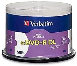 Verbatim Inkjet Hub Printable DVD+R DL Spindle, White, Pack of 50