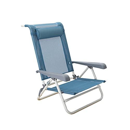 Homecall - Silla de playa plegable con 7 posiciones (azul)