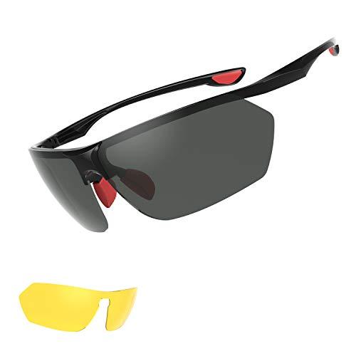 Polarisierte Sportbrille,UV400,Ultraleichte und super passende Sonnenbrille, Anti-Schock, Augenschutz und Blendschutz, Sonnenbrille mit austauschbaren Linse für Autofahren, Laufen, Reiten