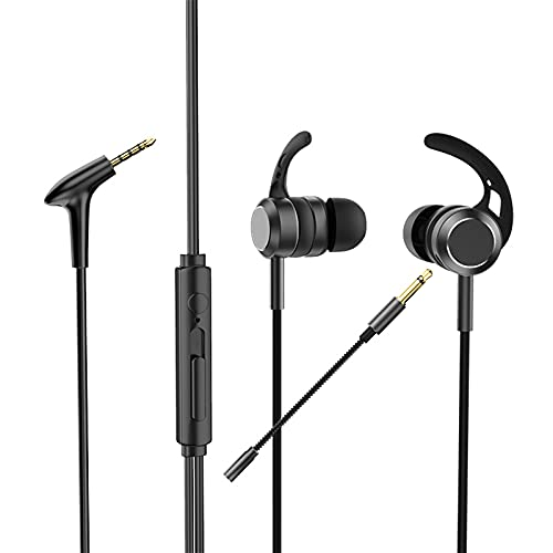 AK-P10 Auriculares intrauditivos para Jugadores de 3,5 mm Micrófono Doble Auriculares para Juegos con Cable de Metal y Bajos con micrófono Auriculares internos