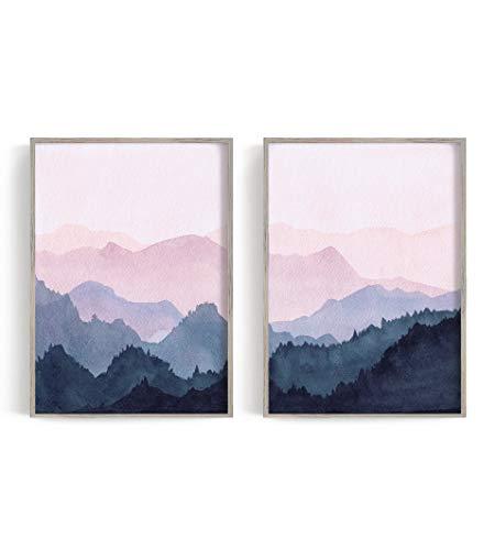 Watercolor Art Print, Pink wall art, Mountain Poster, Watercolour set prints, Set of 2 Prints, Scandinavian Art, Mountain Print, Wall Art, 2 piece Print (18' x 24' x 2 Prints)