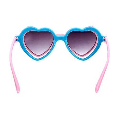 VALICLUD 1 par de Gafas de Sol en Forma de Corazn Gafas Transparentes Abatibles sin Marco Gafas Tintadas para La Fiesta de San Valentn Cosplay Azul