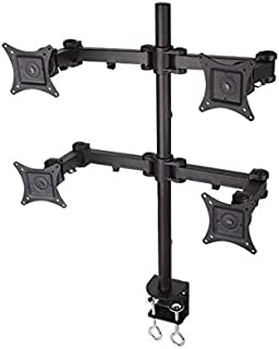 "Rife Quad LCD Monitor Desk 4 Mount Stand Fully Adjustable Fits with 14-27"" Acer LG HP Samsung Screens, Full Motion, C-Clam..."