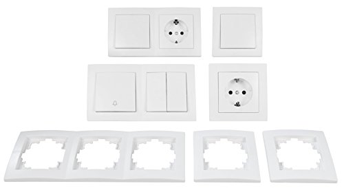 MC POWER - FLAIR - Wand Steckdosen und Schalter Set | Flur | 13-teilig | weiß, matt