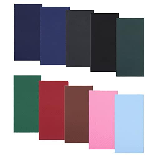 SkingHong Kit de reparación para botes inflables, chaqueta de plumón, tienda de campaña, 10 colores, impermeable, nailon, tela autoadhesiva, 20 x 10 cm, parches recortables