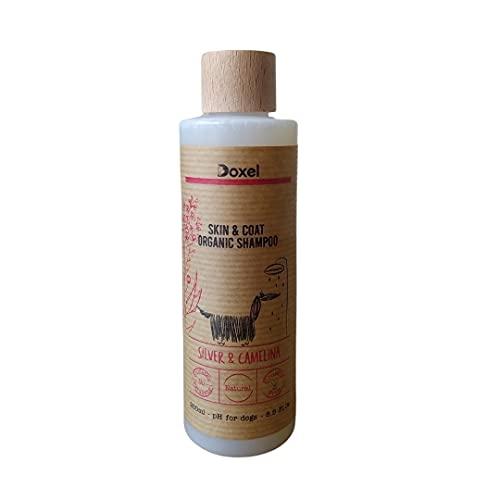 Doxel | Champú Perros Skin & Coat Natural | Ingredientes orgánicos | Especial Piel y Pelo | Vegano | Aceite ecológico de camelina y Plata coloidal | Hipoalergénico | Todas Las Razas y Edades | 250 ml