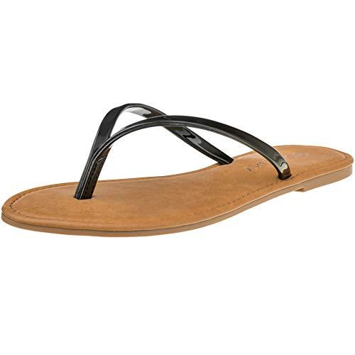 CLOVERLY Women's Summer Flat Flip Flops Slip On Sandals Shoes (7.5, Black)