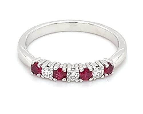 Anillo de eternidad con diamantes y rubí engastado en oro blanco de 18 quilates, peso total de 0,39 quilates