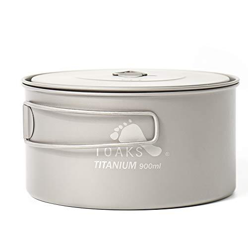 TOAKS Camping Geschirr aus reinem Titan im Freien- Kann als Tassen, Schüsseln und Töpfe verwendet Werden (900ml)