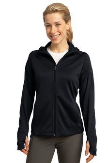 Sport-Tek Women's Drawcord Fleece Full-Zip Hooded Jacket_Black_Small