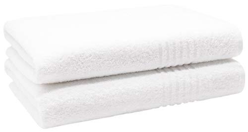 ZOLLNER 2 Toallas de Ducha 100% algodón, 70x140 cm, de Rizo, Blancas