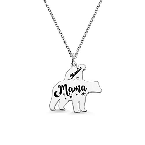Personalized 1-8 Bears Cute Pendant Necklace Engraved Name Family Necklace Unisex Unique Birthday Valentine's Day Anniversary Ideas(Silver-18)