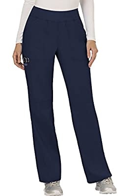 CHEROKEE Women's Mid Rise Straight Leg Pull-on Pant, Navy, X-Large