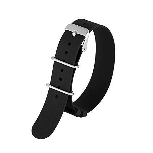 KZFashions Waterproof Sports Universal One Over NATO Silicone Watch Strap (20mm, Black)