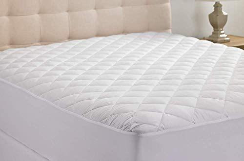 Hypoallergenic Quilted Stretch-to-Fit Mattress Pad by Hanna Kay, Clyne Collection (Queen)