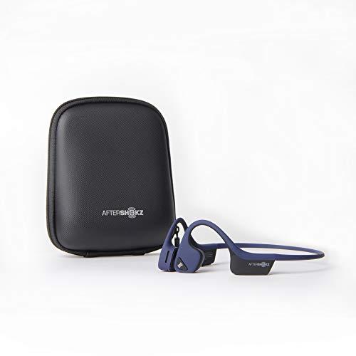 AfterShokz Trekz Air - Écouteurs sans Fil à Conduction Osseuse (Oreilles Libres) Casque Bluetooth pour Sport Course avec 2 Étuis de Protection, Bleu Nuit