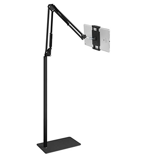 iPad Pro Floor Stand, Tablet Floor Stand, Angle Height Adjustable Flexible Arms for Standing Sitting Lying Down Use, Universal Holder for iPhone iPad Pro Air Mini, Samsung Tab, Kindle, E-Readers