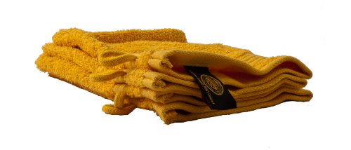 Gözze 550–1034–1 Lot de 4 Gants de toilette/17 x 24 cm/100% Coton 550 g/m ²/Ökotex Standard 100/jaune