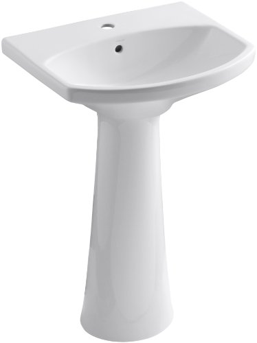 KOHLER K-2362-1-0 Cimarron Pedestal Bathroom Sink with Single-Hole Faucet Drilling, White