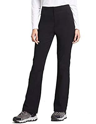 BALEAF Women's Hiking Pants UPF 50+ Stretch Boot Cut Pants Water Resistant Black Size L