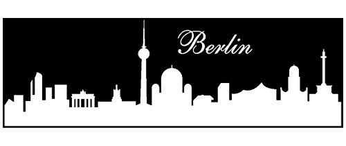 Samunshi® Wandtattoo Berlin Skyline Wandaufkleber in 4 Größen und 19 Farben (70x22cm weiß)