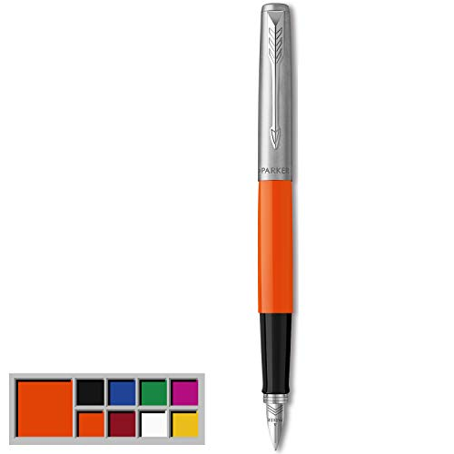 Parker Jotter Originals Fountain Pen, Classic Orange Finish, Medium Nib, Blue & Black Ink