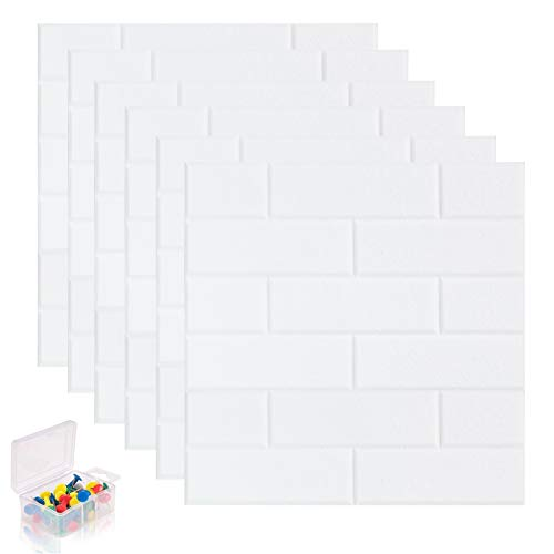 """APSOONSELL 6 Pack Board Bulletin with Push Pins, Self Adhesive Felt Memo Notice Borad, Grey Brick Tile Wall Decor for Home, Office, Classroom, 12""""x12"""""""