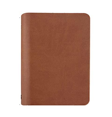 RAEADLIFE Diario de viaje A7, de piel, con anillas de bolsillo, retro, recargable, diario de viaje, diario, diario, diario, cuaderno de notas, con 6 anillas, a rayas, marrón