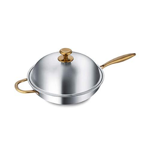 ZLDGYG Wok anti-adhérent 304 Non des ménages en acier inoxydable revêtement moins multi-fonction Fumée Cuisinière à induction gaz for la cuisson au wok (Size : 32cm)