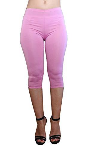 Lc012 - roze - driekwart - 3/4 - legging - vrouw - elastische broek - lente - zomer - one size