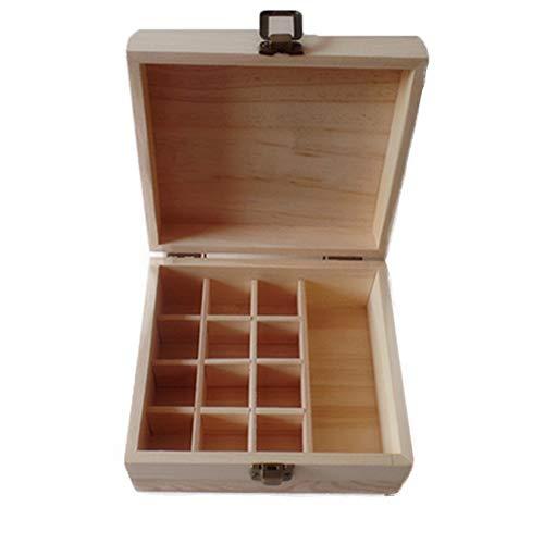 Aufbewahrungsbox für Atherische Öle 13-Schlitz Ätherisches Öl Lagerung Holzetui Ätherisches Öl Holzetui Mit Schnalle Spielraum-Speicher-Box Vitrine ( Farbe : Natural , Size : 15X16.9X8CM )
