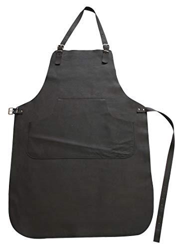 Förster-Fellnest Schöne und widerstandsfähige, echt Leder Grillschürze, Gartenschürze - kräftig und hochflexibel, mit dezenter, praktischer Tasche - echtes Büffelleder in schwarz/braun