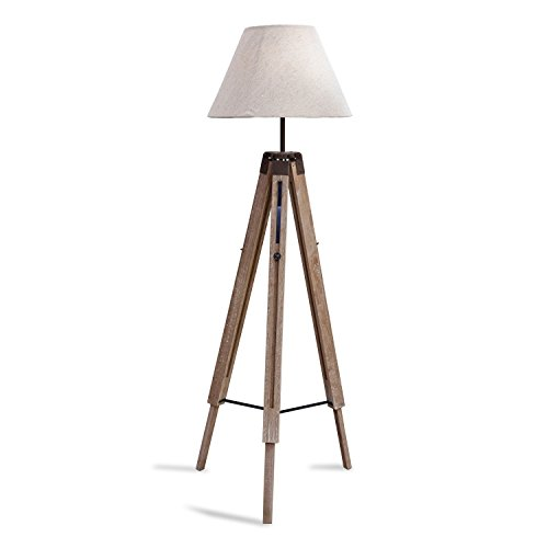 Loberon Stehlampe Farmingdale, Paulowniaholz, Baumwolle, Leinen, H/B/T/Ø 137/36 / 36/45 cm, graubraun/creme, E27, max. 60 Watt, A++ bis E