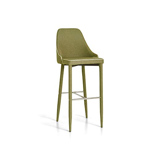 Tuoni New Plana Sgabello, Set 4 Pezzi in Tessuto, Salotto/Studio/Bar/Pub, Verde, 45x50x105 cm