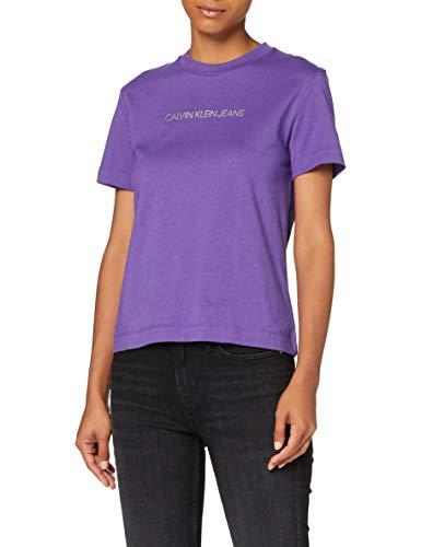 Calvin Klein Shrunken Inst Modern SS tee Camisa, Gentian Violet, M para Mujer