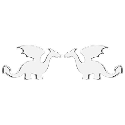 Cute Dinosaurs Earrings Stud for Women Girls Men 925 Sterling Silver Hypoallergenic Tiny Dragon Brontosaurus Cartilage Tragus Post Polished Fashion Jewelry Dainty Gifts for Best Friend (Silver)