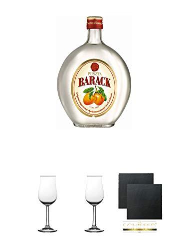 Puszta Barack Ungarischer Aprikosengeist Ungarn 0,7 Liter + Gläser Geschenkset + Schieferuntersetzer