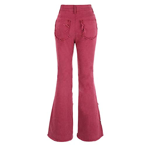 THUNDER STAR Women Patch Stretch Bell Bottom Jeans High Waisted Flare Denim Pants Red US 8-10