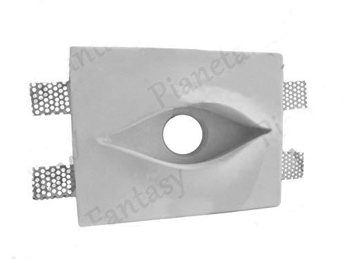 Porte spot rectangulaire slim effet œil en plâtre céramique à casier PF19 lot de 10 pièces + ressort bloque-ampoule