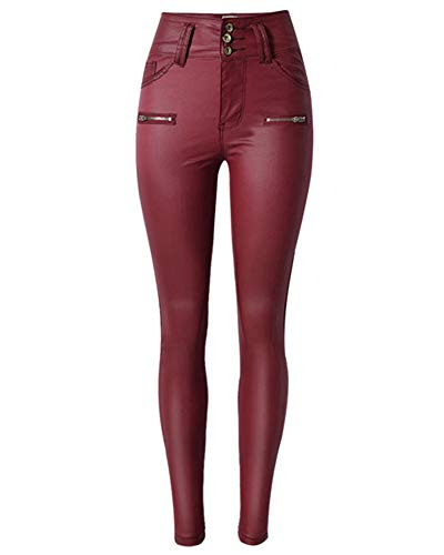 Damen Lederhose Skinny Legging Stretch Pu Leder Hose Hohe Taille Weinrot