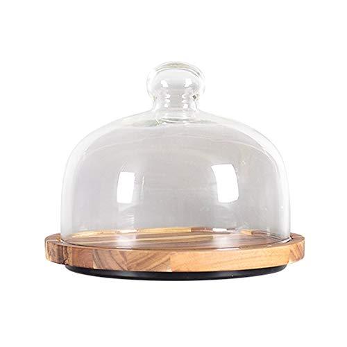 JISHIYU Bandeja de pastel de madera de acacia con cúpula de pastel de vidrio, soporte de pastel reutilizable, plato de servir multifuncional, soporte para pasteles, ensalada, plato, tazón de perforaci